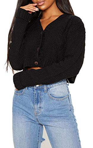 Crazy Girls Women's Ladies Long Sleeve 3 Button Cropped Chunky Aran Cable Knitted Grandad Cardigan (12-14, Black)