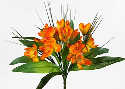 Seidenblumen Roß Krokusbusch 28cm orange PM Kunstpflanzen Kunstblumen künstlicher Crocus Krokus Blumen Pflanzen