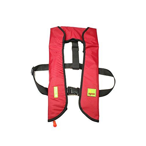 Premium Safety Adult Life Jacket with Whistle - Manual Version Inflatable Lifejacket Life Vest Preserver for Boating Fishing Sailing Kayaking Surfing Paddling Swimming - Adjustable Life Saving Vest