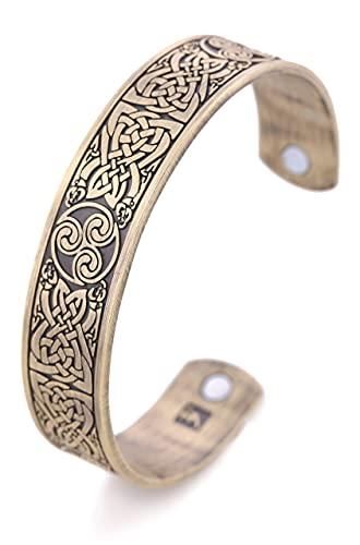 AMOZ Vintage Amuleto Nórdico Vikingo Celta Nudo Irlandés Triskelion Triskele Pulsera Magnética de Salud Hombres Mujeres,Bronce Antiguo
