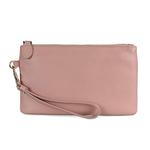 Befen Women's Leather Clutch Wristlet Wallet Wristlet Phone Purse with Card Slots - Fit iPhone 8 Plus - Blush Pink