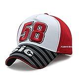 Yooci Gorras De Hombre Memento Moto GP motorfiets Racer 58 Gorra de béisbol Simoncelli Hiphop para Hombres Ocio Gorras Snapback Sombreros-Negro Rojo