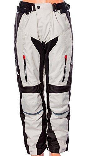 Helle Motorradhose für Sommer und Winter in schwarz/grau mit Protektoren, Belüftungssystem und herausnehmbarem Thermofutter