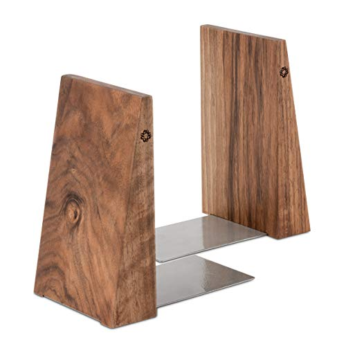 TILISMA Handmade Wooden Book Ends - Decorative Bookends for Shelves - Sturdy Book Holders for Heavy...