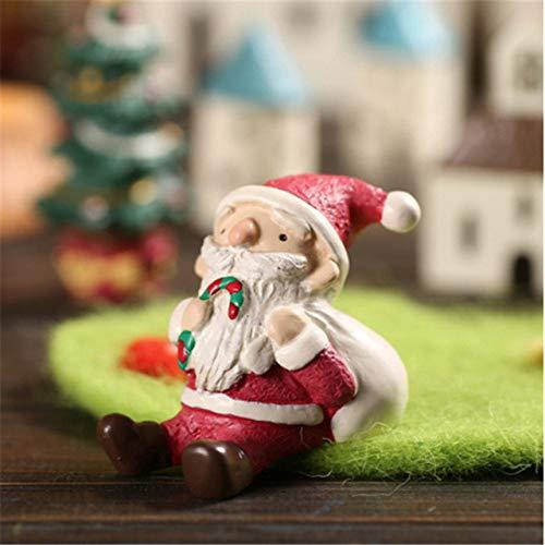 POUPDM decoración navideña Mini Personajes navideños Estatua de Ciervo Santa Claus decoración del hogar DIY decoración de jardín artesanía, b
