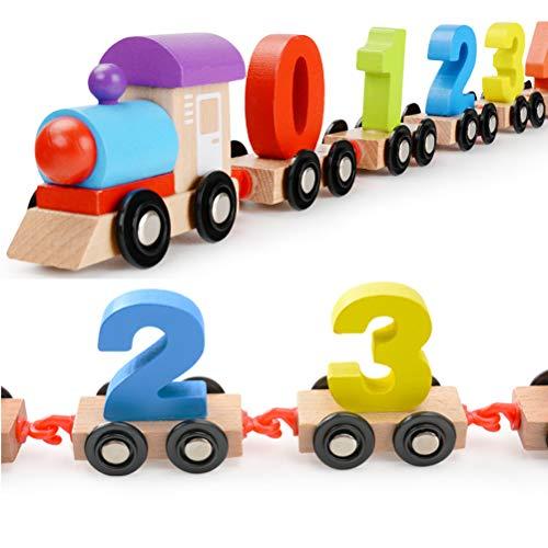 Daxoon Kinder Holz Zahlenzug, Bunte Zahlenzug Vorschulspielzeug Pädagogisches Spielzeug Holz Geburtstag Zählen Spielzeug Geschenke für Baby Kleinkinder