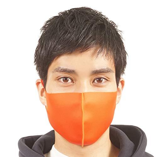 マスク おしゃれ メンズ 洗える S M L 20色 男性用 女性 子供 大きめ 小さめ レディース キッズ ブランド スポーツ 二重構造 即納 ウレタン ネオプレーン カラーマスク オレンジ Mサイズ