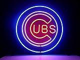 Queen Sense 14'x14' Chicago Cub Neon Sign Light Beer Bar Pub Man Cave Real Glass Lamp DE07