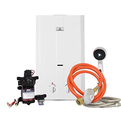 Eccotemp CE-L10 11.5 LPM Portable Outdoor Durchlauferhitzer w/EccoFlo Membran 12V Pumpe, Sieb & Dusche Set, 37 mbar