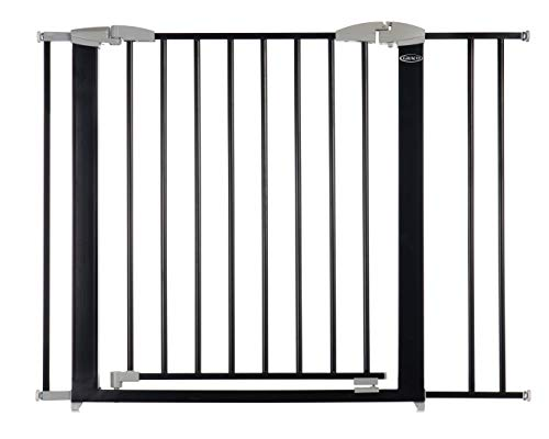 Graco Safe n' Secure Walk-Through Metal Safety Gate (Black) - Expands from 28.75-42 Inches, 30 Inches Tall, Includes 3 Extensions, Pressure Mounted Walk Thru Baby Gate, Perfect for Children and Pets