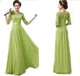 Green Ladies Women Fashion Half Sleeves Long Dress Club Wear Evening Party Dress