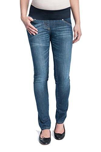 Christoff Damen Schwangerschaftsjeans Umstandsjeans Five-Pocket-Jeans - Unterbauch Skinny Röhrenjeans - weiches Bauchband - 100/87/8 - blau - Gr.40