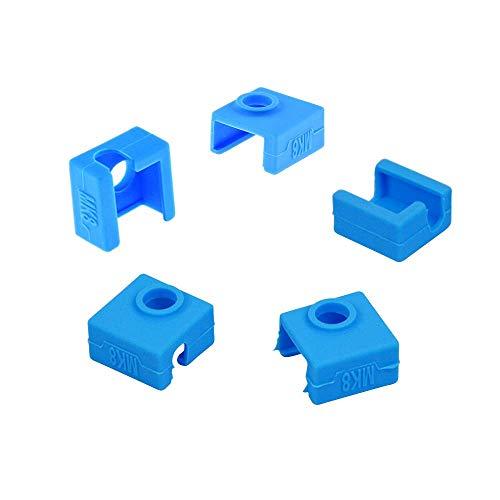 DollaTek 5 pezzi 3d blocco riscaldatore per stampante cover in silicone cover in silicone mk8 resistente alle alte temperature compatibile con cr-10 / 10s / s4 / s5