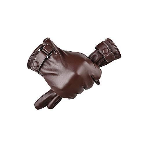 LHTCZZB Resistente al viento y guantes de cuero impermeables for montar a caballo de invierno, además de terciopelo Espesamiento todos los aspectos de la pantalla táctil de calor guantes al aire libre