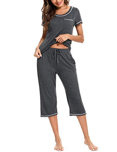 Doaraha Pijamas Capri para Mujer Algodón Suave Ropa de Dormir Manga Corta Pantalones Capri Verano Corto Conjunto de Pijama 2 Piezas (Gris Oscuro, XXL)
