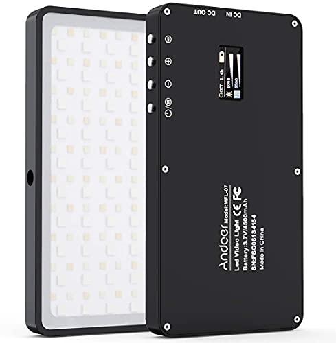 Andoer MFL-07 RGB Luce LED Portatile Luce di riempimento 10W Dimmerabile 3000K-6500K,con Schermo OLED, Funzione Power Bank 4500mAh,Adattatore da 1 * 1/4 a Cold Shoe,Cavo Tipo-C Incluso