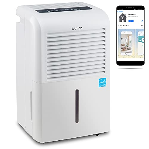 Ivation 4,500 Sq Ft Smart Wi-Fi Energy Star Dehumidifier with App, Continuous Drain Hose Connector, Programmable Humidity, 2.25 Gal Reservoir for Medium and Large Rooms (4,500 Sq Ft)
