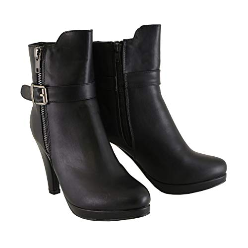 Milwaukee Leather MBL9430 Women's Black Boots with Side Zipper Entry and Adjustable Buckle - 8