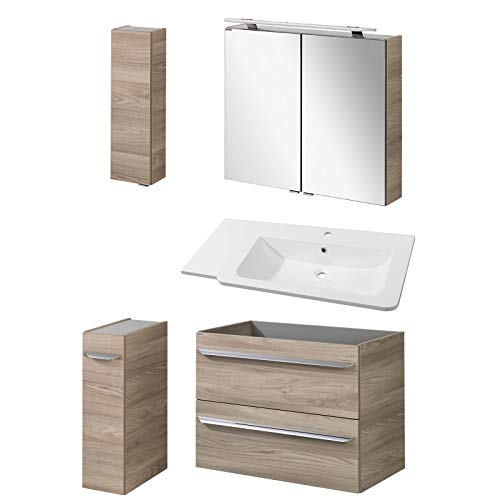 FACKELMANN lichtbruine badkamer hangend brede wastafel & LED-spiegelkast 100 cm 5-delig
