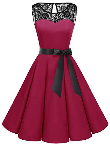 Bbonlinedress Spitzenkleid Damen cocktailkleid Damen kleiderdamen Rockabilly Kleider Damen Hochzeit Abendkleider lang cocktailkleid Damen Dark Red L