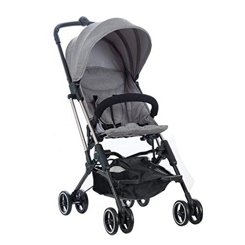 L&WB Pushchair Stroller Stühle, mit einem Knopf, faltbar, Ultralight, tragbar, stoßfest, für die Reise, kann das Kind im Flugzeug Sein,Gray