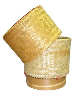 Handwoven Handmade Sticky Rice Serving Basket From Natural Bamboo Size 21x21x21 cm.