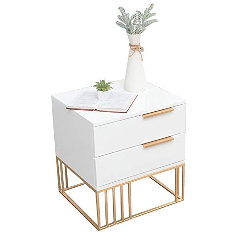 New Nightstand End Table Nightstand with Metal Gold Frame 2 Drawers Bedside Table Bedroom Furniture ...