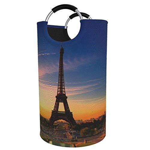 N\A Cesto de lavandería Grande de 82 l, France Sun Urban Paris Cesto de Ropa Plegable de Tela con Torre Eiffel, Bolsa de Ropa Plegable, Cesta de Almacenamiento Plegable
