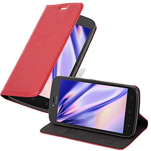 Cadorabo Hülle für Motorola Moto C Plus in Apfel ROT - Handyhülle mit Magnetverschluss, Standfunktion & Kartenfach - Hülle Cover Schutzhülle Etui Tasche Book Klapp Style