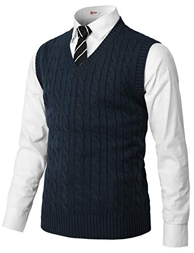 H2H Mens Casual Slim Fit Pullover Sweaters Knitted Vest Navy US M/Asia L (CMOV052)