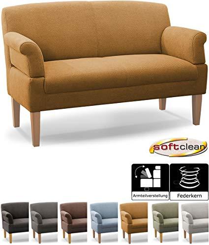 CAVADORE 2-Sitzer Küchensofa Malm, Sitzbank für Küche oder Esszimmer inkl. Armteilverstellung, Leichte Fleckentfernung dank Soft Clean, 152 x 97 x 78, Flachgewebe: gelb