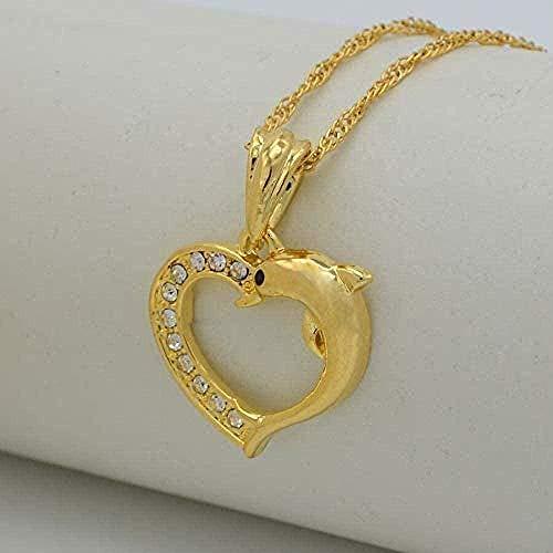 Yiffshunl Collar Mujer corazón Collar con Colgante de delfín para Mujer Color Oro PNG Piedra joyería Collar Regalo