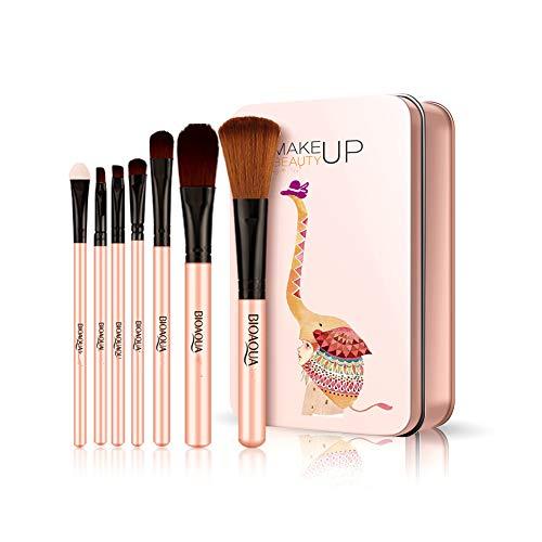 7 Pièce Maquillage Brush Set Fondation Brosse À Lèvres Brosse Éponge Boussole Fine Brush Uniforme Blush Brush Beauté Maquillage Outil,Pink