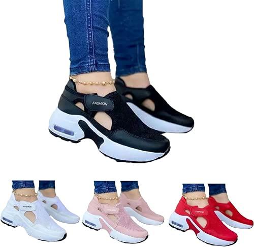 Zapatillas de deporte de velcro tejidas con suela de cojín de aire para mujer, para correr, antideslizantes, ligeras, rojo, US10/CN42