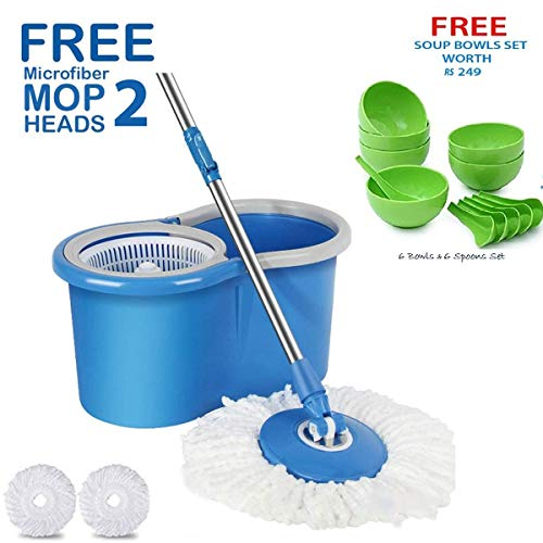 HOLME'S Mop with Bucket/mop/Magic mop/Magic Spin mop and Bucket/Microfiber Cleaning mop/Microfiber mop Head/Magic mop Bucket/Magic Floor mop/Floor Cleaning mop (Color May Vary)