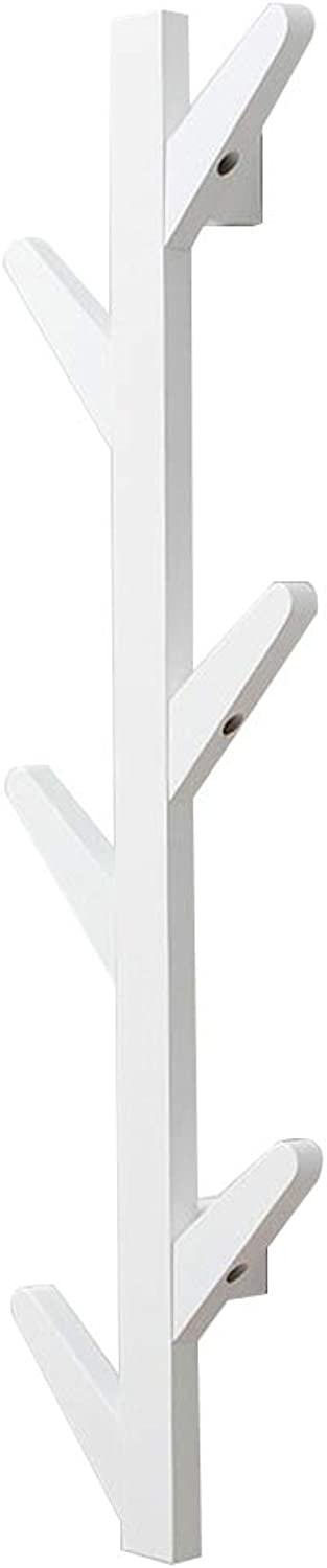 Coat Rack, Wall-Mounted Creative Solid Wood Simple Hanger Bedroom Living Room Storage Rack,2 color, 3 Size (color   White, Size   24  78CM)