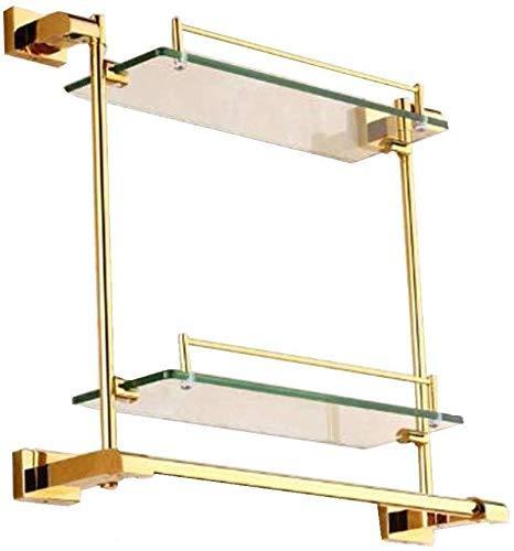 Rek voor badkamer, kruiden, voor keuken en thuis, voor kantoor, scheidingswanden van glas, om op te hangen, zeepbakje, geschenken, kleur: goud, grootte: 48 x 41 cm 48*41cm goud.