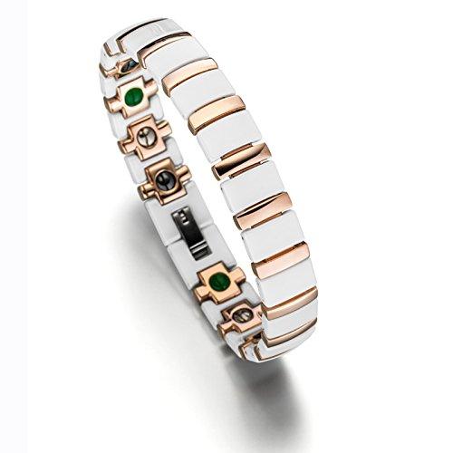 Lunavit Magnetschmuck, Damen Titan Keramik Gliederarmband, Magnetarmband mit Neodym-Magnete, Germaniumsteine und Jade Steine, Weiß Rose