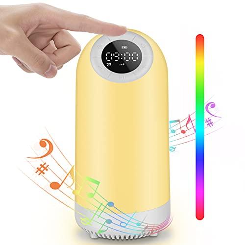 7 en 1 Luz Nocturna LED Táctil Chenci Lámpara de Mesita de Noche Bluetooth Música Temporizador Radio FM Reloj Despertador Regulable USB Recargable, para niños, Dormitorio, Cámping