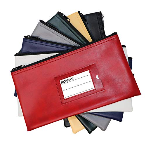 Nadex 7 Days Bank Deposit Cash and Coin Pouches with Zipper Closure, Each Money Bag with Blank Card and Card for Each Day of the Week, Multi-Color