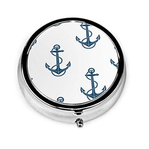 Pastillero redondo con 3 compartimentos Caja de pastillas de viaje portátil Ancla de barco azul Azul marino Barco de playa artístico abstracto Color