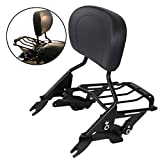 AUFER Black Detachable Upright Passenger Sissy Bar Backrest with Backrest Pad + 4-Point Docking Hardware Kit and Air Wing Two Up Luggage Rack Fit For Touring Street Glide Road King 2014-2020