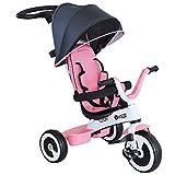 HOMCOM Triciclo Bebé Plegable 4 en 1 Trolley Trike Bicicletas para Niños +18 Mes Evolutivo Capota Barra Desmontable Control Parental Juguete Aprendizaje