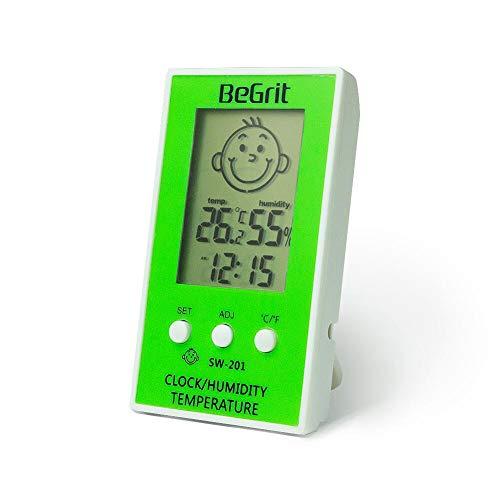 BeGrit sala higrómetro termómetro para habitación del bebé Temperatura Humedad Monitor de humedad, Digital fácil lectura instantánea con sonrisa/icono de emoción triste verde
