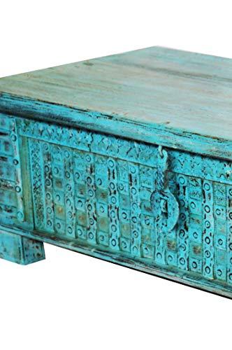 Orientalische Truhe Kiste Holz Ajala 121cm Vintage Blau | Vintage Sitzbank mit Aufbewahrung für den Flur | Aufbewahrungsbox mit Deckel im Bad | Betttruhe als Kissenbox oder Deko im Schlafzimmer - 2