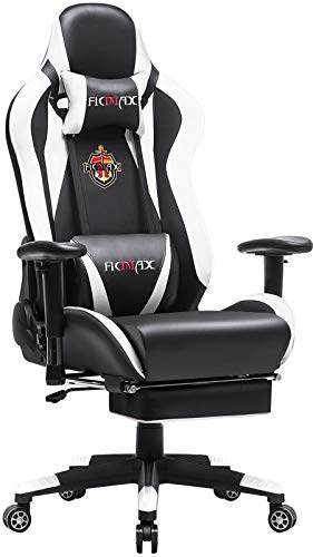 Ficmax Massage Gaming Chair Racing Style Office Chair with Footrest Reclining Computer Chair for Gaming, High Back Pro Gamer Chair for E-sport, Large Gaming Desk Chair with Headrest and Lumbar Support