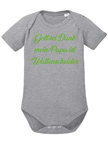 clothinx Gott sei Dank, Mein Papa ist Wattenscheider, Lustiges Fussballmotiv Baby Body Bio Sports Grey Gr. 86-92