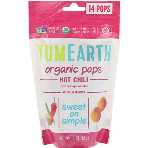 Organic Lollipops Hot Chili Yum Earth 3 oz Bag