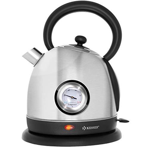 KESSER® Wasserkocher Edelstahl | 2200W | BPA frei | 1,8 Liter | Retro Design | Überhitzungsschutz | Teekocher Teekessel Kocher | Cool-Touch-Griff | kabellos | Temperaturanzeige | Silber