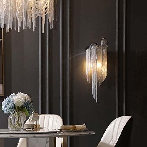 GLYYR LED Lujo Moderno Lámparas de Pared Borla de Cadena de Aluminio Decoración de La Luz del Sofá Cabecera Hotel Sala de Estar Comedor Pasillo Corredor Diseño ARC Round E27